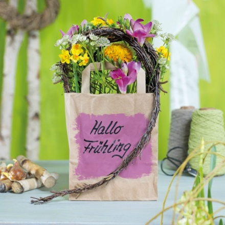 spring flowers in a bag